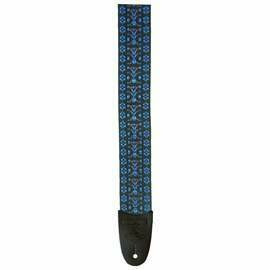 LM Woven Fabric Tapestry Guitar Strap Hootenanny Blue