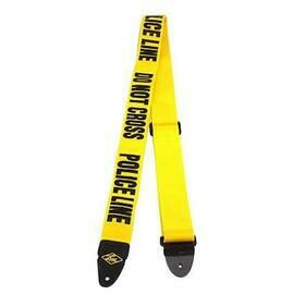 LM Poly Seat Belt Type Guitar Strap Yellow with Do Not Cross Police Line