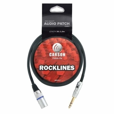 CARSON RAD32ST 6.3 Stereo Jack Plug (M) to XLR (M) Mic/Audio Cable, 3 FT