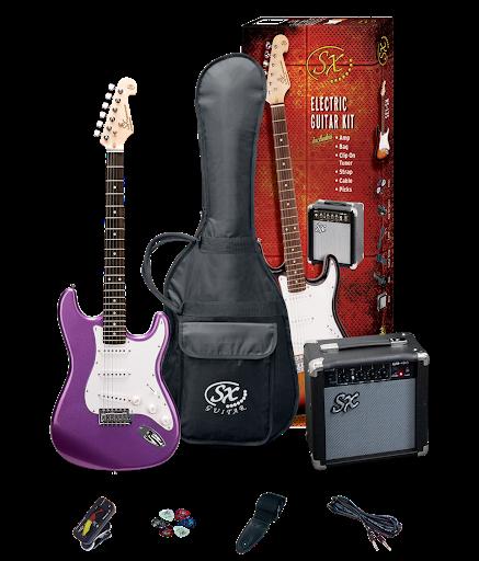 SX 4/4 Size Electric Guitar Pack Metalic Purple