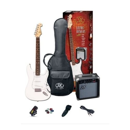 SX 4/4 Size Electric Guitar Pack White