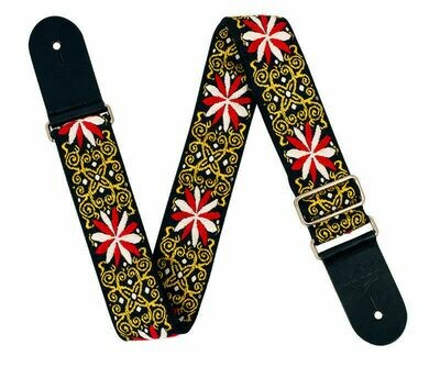 XTR 2 Inch Black Deluxe Poly Cotton Black & Gold Floral