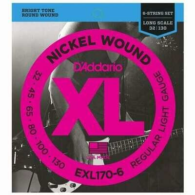 D'Addario EXL170-6 6-String Nickel Wound Bass Strings - Light Long Scale (32-130)