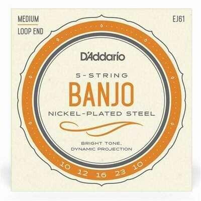 D'Addario EJ61 5-String Banjo Strings, Nickel, Medium, 10-23