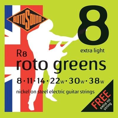 Rotosound R8 Roto Greens Electric String set 8-38