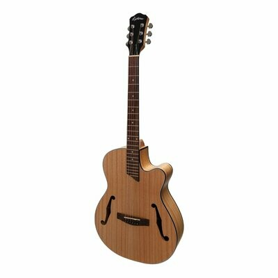 Martinez Jazz Hybrid Acoustic-Electric Small Body Cutaway Guitar (Mindi-Wood)