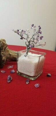 Wire Tree of Life Amethyst and Rose Quartz