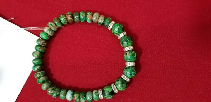 Green Jasper Bracelet 9 Inch  Ward off negative energy