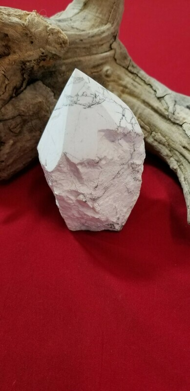Large Howlite Point Control Rage and Heal Past Life Trauma