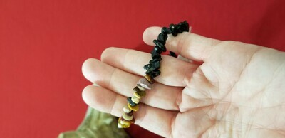 Mookaite and Black Obsidian Bracelett 8 inch Great for clearing the mind for meditation