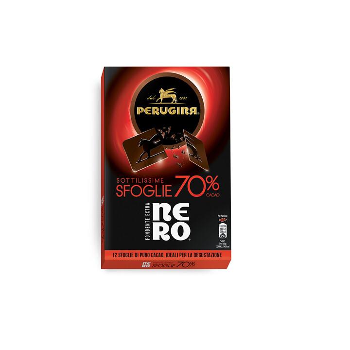 Sfoglie di cioccolato fondente extra Nero 70% di Perugina