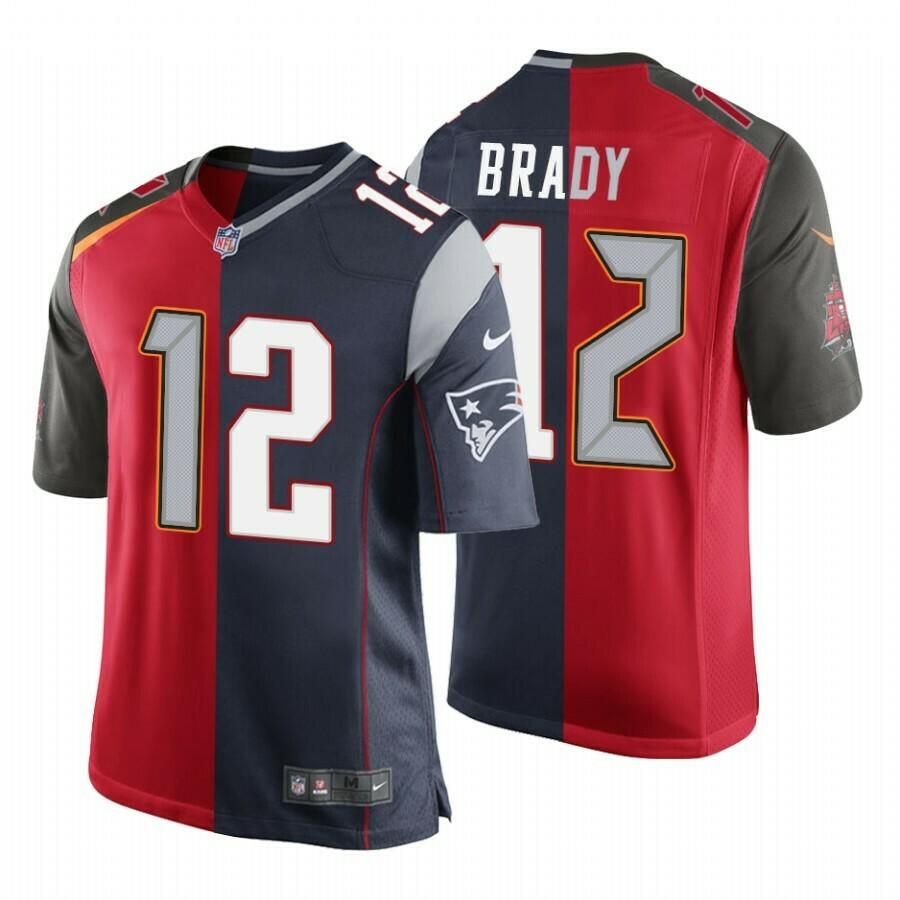 Men's Buccaneers Patriots #12 Tom Brady Split GOAT Red Navy Jersey