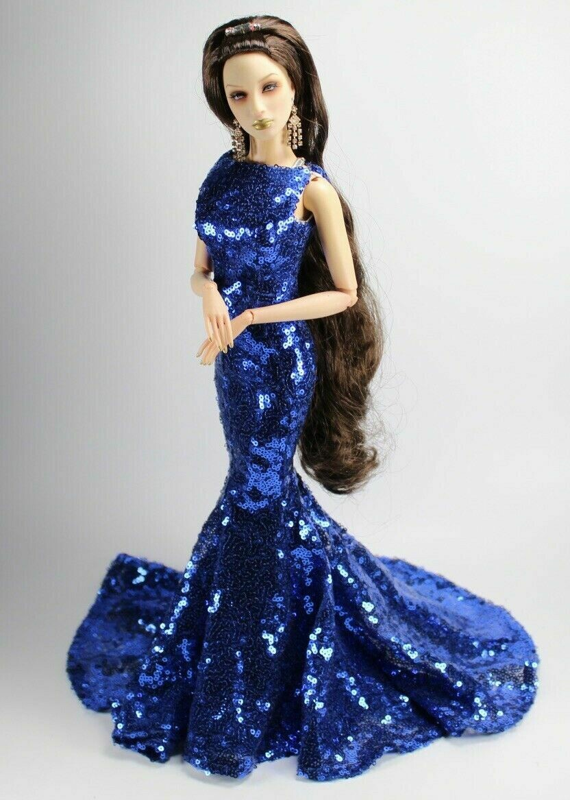 """Blue Sequence Gown to fit Superdoll Sybarites Gen X 16"""" Fashion Dolls"""