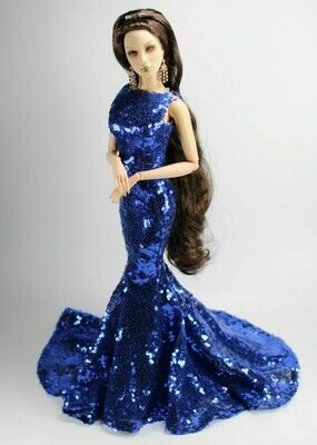 "Blue Sequence Gown to fit Superdoll Sybarites Gen X 16"" Fashion Dolls"