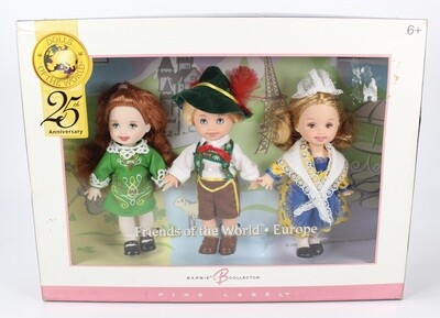 2004 Pink Label: Friends of the World- Europe, Barbie Doll Gift Set from the Dolls of the World Collection NRFB