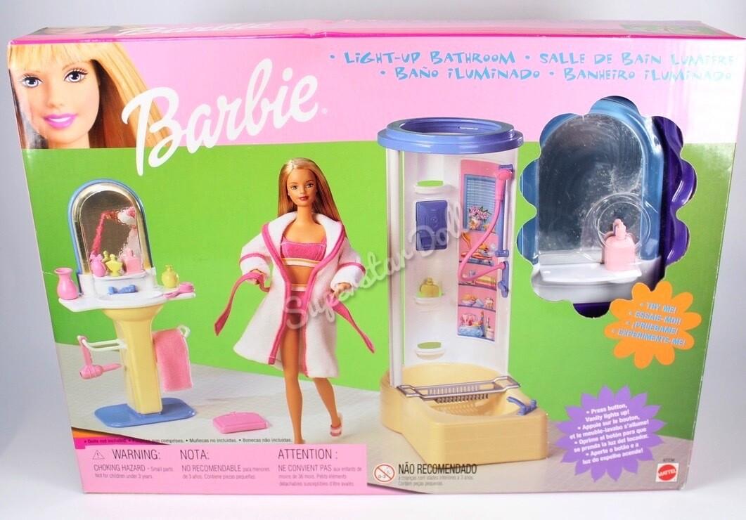 1999 Barbie Doll Light Up Bathroom Set