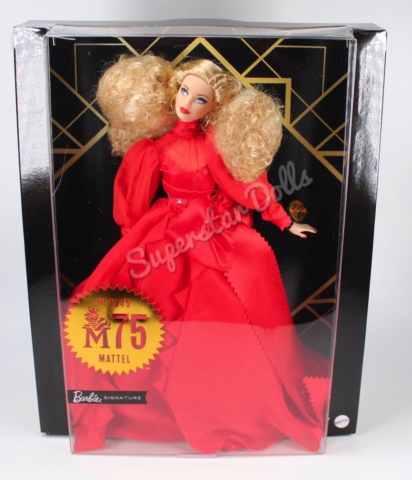 2020 Black Label: Mattel 75th Anniversary Doll (12-in Blonde) in Red Gown