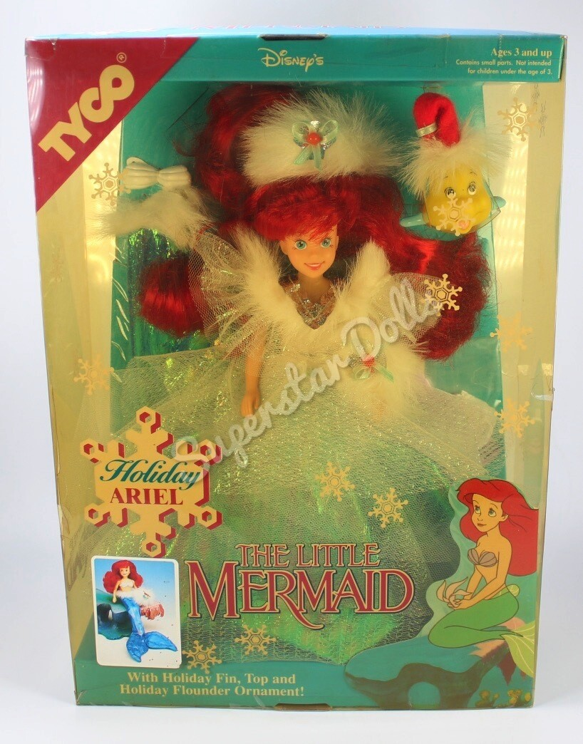 """1991 Disney: The Little Mermaid Holiday Ariel 9.5"""" Doll By Tyco Toys"""