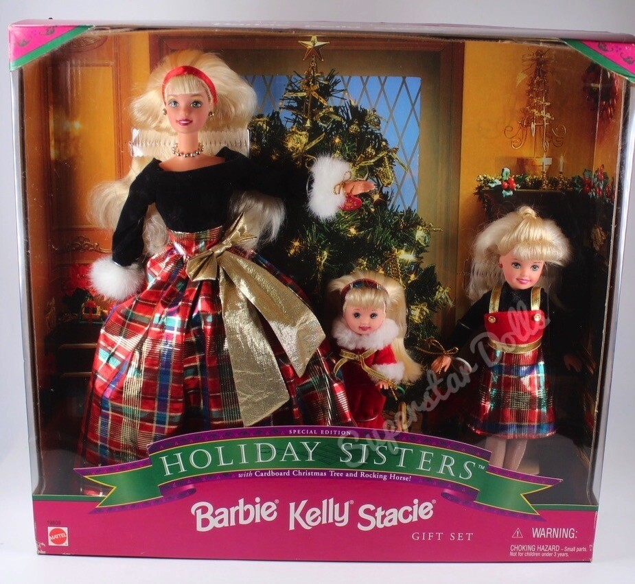 1998 Special Edition: Holiday Sisters Barbie, Kelly & Stacie Doll Gift Set