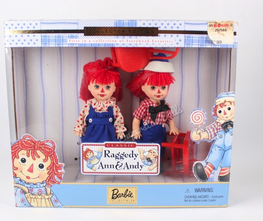 1999 Collector Edition: Raggedy Ann & Andy Kelly/Tommy Barbie Doll Gift Set