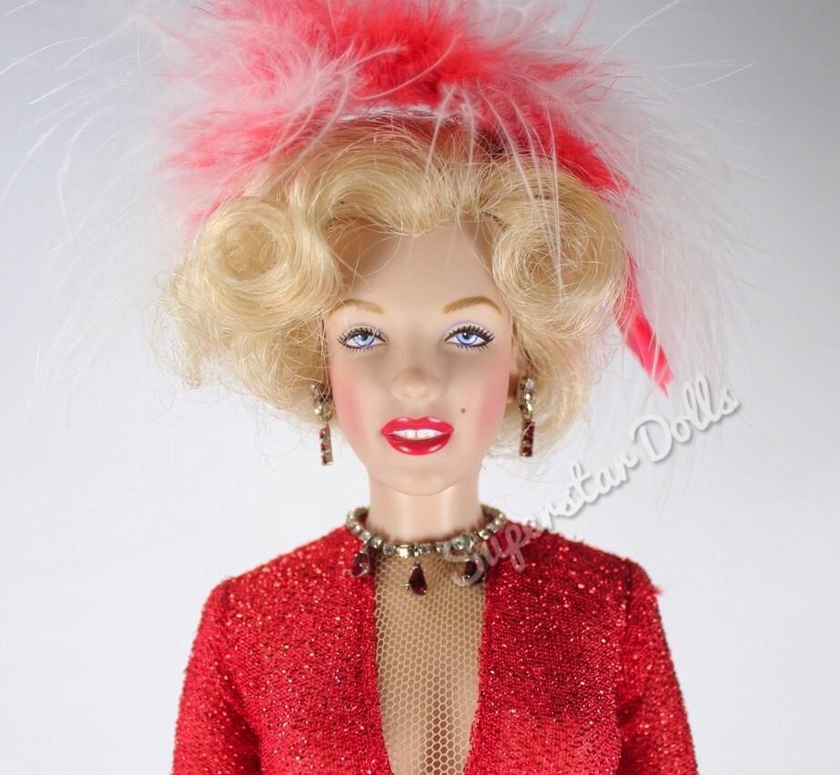 """Franklin Mint 16"""" Vinyl Portrait Marilyn Monroe in Red Gown DE-Boxed Doll"""