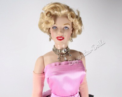 "Franklin Mint 16"" Vinyl Portrait Marilyn Monroe in Pink Gown DE-Boxed Doll"