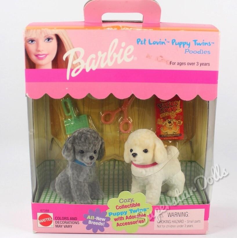 1999 Pet Lovin' Puppy Twins Poodles For Barbi Dolls