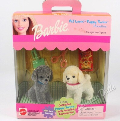 1999 Pet Lovin' Puppy Twins Poodles For Barbi Dolls