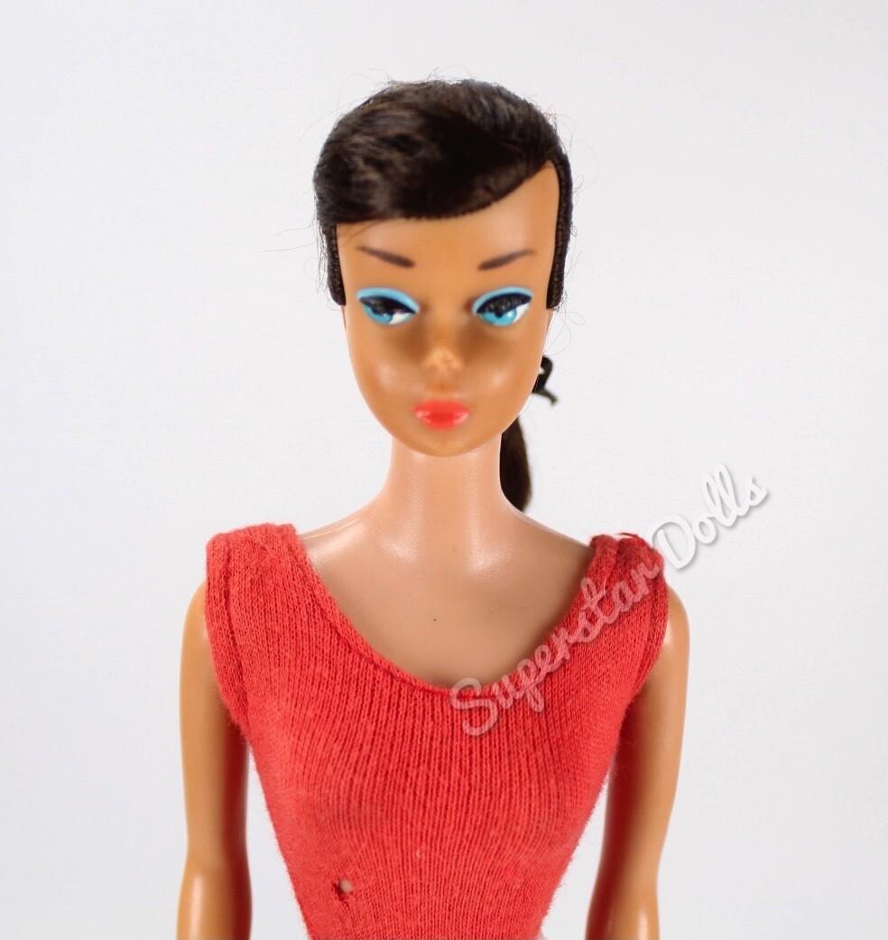 Vintage 1960's Brunette Swirl Ponytail Dressed Barbie Doll