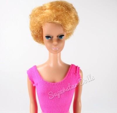 Vintage 1960's Bubblegum Pink Lipped Blonde Bubble-Cut Barbie Doll