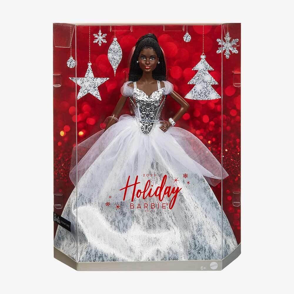 2021 Holiday Barbie Doll, Brunette Braids