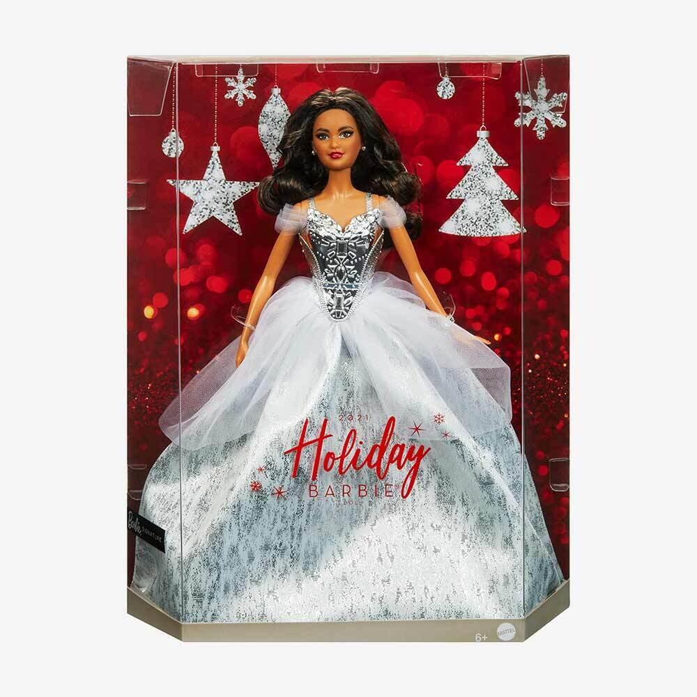 2021 Holiday Barbie Doll, Brunette Curly Hair