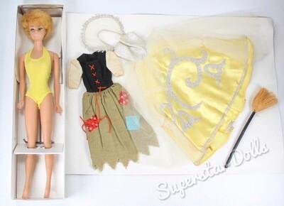 Vintage 1960's Bubblegum Pink Lipped Blonde Bubble-Cut Barbie Doll PLUS Cinderella Fashion SET #972
