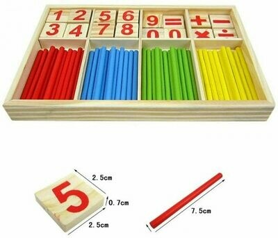 Wood Toy Counting Sticks Math Manipulatives Wooden Number Cards