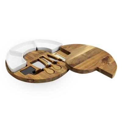 Acacia Round Cheese Board & Knives Set |