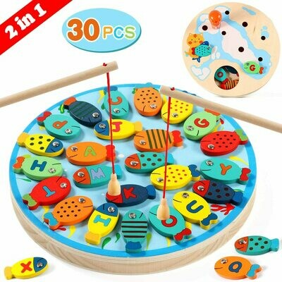 Fishing Game 30 PCS Wooden Magnetic Alphabet Letter Fishing Toys for 3 4 5 Year