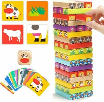 BRIGHT Wooden Tumble Tower Game for Kids Age 3-8