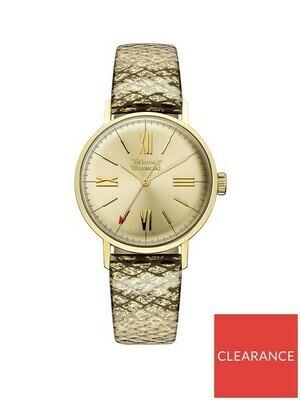 Vivienne Westwood Vivienne Westwood Burlington Gold Date Dial Gold Leather Strap Ladies Watch