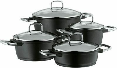 MF cookware set 4-piece Bueno Induction pouring rim glass lid Aluguss coated suitable for all stove tops including induction dishwasher-safe