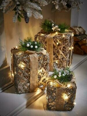 Lit and Frosted Rattan Gift Box Christmas Decorations (Set of 3)