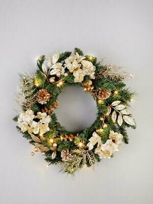 Pre-Lit Hydrangea Christmas Wreath in Gold