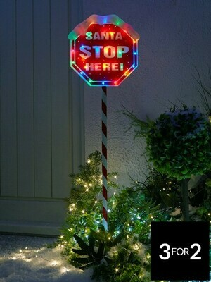 Indoor/Outdoor 110 cm Santa Stop Here Sign with Multi Coloured Lights