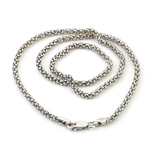 Sterling Silver 20'' 3mm Oxidized Popcorn Chain