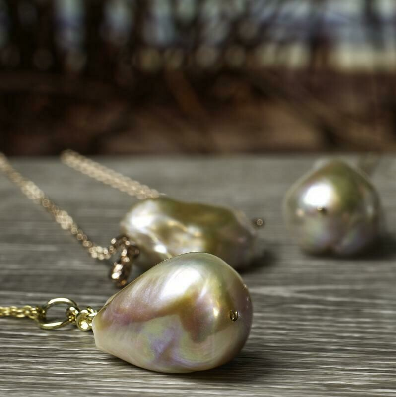 Baroque Pearl Long Drop Pendant