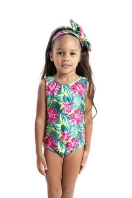 Tropical Pink Flower Print-Girls