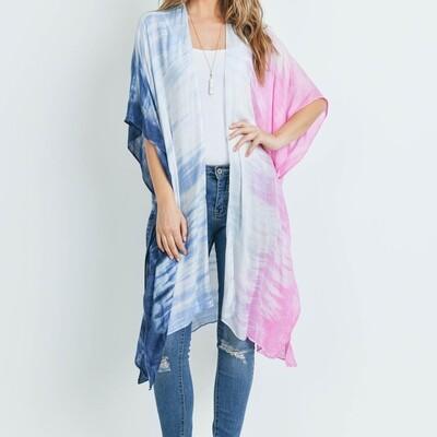 Tie Dye Ombre Open Front Kimono