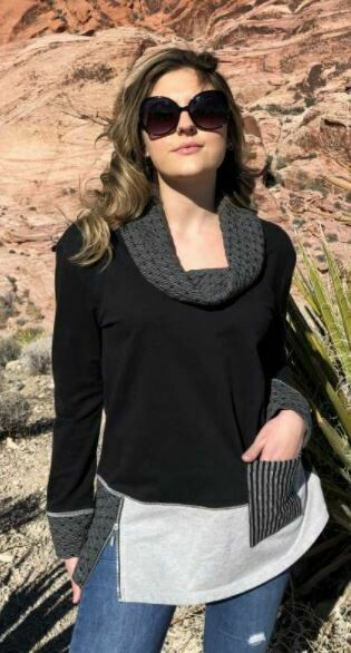 BB Mixed Fabric Cowl Tunic