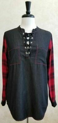 BB Lace-up Denim Tunic w Red/Blk Plaid