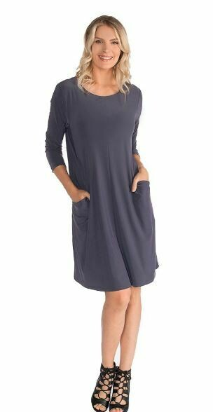LT 3/4 Slv Dress w/Side Pkts