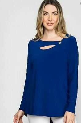 LT Button Strap Neckline Top